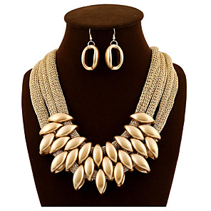 cheap Jewelry Sets-Women's Gold Statement Necklace Thick Chain Unique Design Hyperbole Imitation Diamond Earrings Jewelry Gold For Wedding Party 1 set