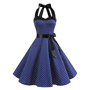 cheap Historical & Vintage Costumes-Audrey Hepburn Polka Dots Retro Vintage 1950s Summer Dress Women's Costume Black / White / Ink Blue Vintage Cosplay Homecoming Sleeveless Knee Length