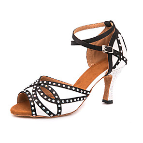 cheap Latin Shoes-Women's Dance Shoes Satin Latin Shoes Crystals / Glitter Sandal / Sneaker Slim High Heel Customizable Black / White / Performance / Leather / Practice