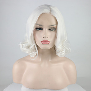 cheap Costume Wigs-Synthetic Lace Front Wig Curly Free Part Lace Front Wig Short Creamy-white Synthetic Hair 12-16 inch Women's Adjustable Lace Heat Resistant White