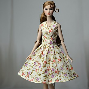 cheap Dolls Accessories-Doll accessories Doll Clothes Doll Dress Wedding Dress Party / Evening Dresses Wedding Ball Gown Floral Flower / Floral Floral Botanical Tulle Lace Cloth Cotton Cloth Non-woven Cotton For 11.5 Inch