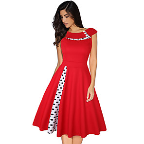 cheap Historical & Vintage Costumes-Audrey Hepburn Country Girl Polka Dots Retro Vintage 1950s Dress Women's Costume Black / Red / Blue Vintage Cosplay Short Sleeve Knee Length