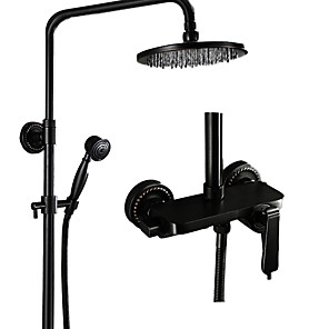 cheap Shower Faucets-Shower Faucet - Antique Oil-rubbed Bronze Centerset Ceramic Valve Bath Shower Mixer Taps / Brass / Single Handle Three Holes