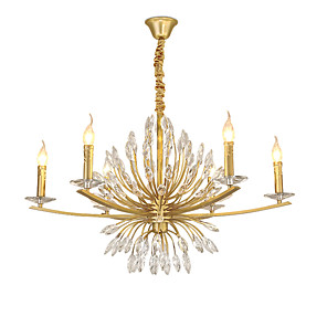 cheap Candle-Style Design-ZHISHU 6-Light 80 cm Creative Chandelier Metal Novelty Painted Finishes Artistic 110-120V / 220-240V
