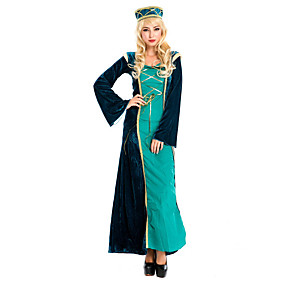 cheap Party Sashes-Princess Victorian Medieval Renaissance 18th Century Wasp-Waisted Dress Hat Women's Lace Costume Hat Green / Black Vintage Cosplay Long Sleeve Long Length