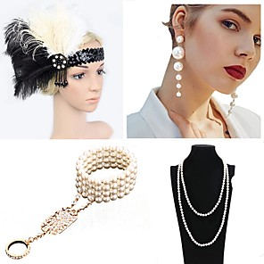 cheap Costumes Jewelry-The Great Gatsby Charleston 1920s The Great Gatsby Costume Accessory Sets Flapper Headband Women's Tassel Costume Head Jewelry Pearl Necklace Black / Blue / Black / Green and Black Vintage Cosplay