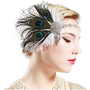cheap Portable Speakers-The Great Gatsby Charleston Vintage 1920s The Great Gatsby Headpiece Flapper Headband Women's Tassel Costume Head Jewelry Black / Green and Black / White Vintage Cosplay Party Prom / Headwear