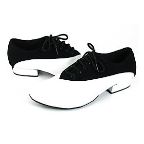 cheap Swing Shoes-Men's Modern Shoes / Ballroom Shoes Leather Lace-up Heel / Sneaker Splicing Flat Heel Dance Shoes Black / White / Performance