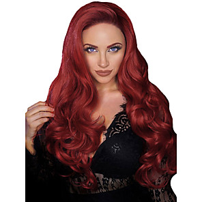 cheap Synthetic Lace Wigs-Synthetic Wig Synthetic Lace Front Wig Wavy Body Wave Middle Part with Baby Hair Lace Front Wig Long Burgundy Synthetic Hair 26 inch Women's Soft Adjustable Heat Resistant Red Modernfairy Hair
