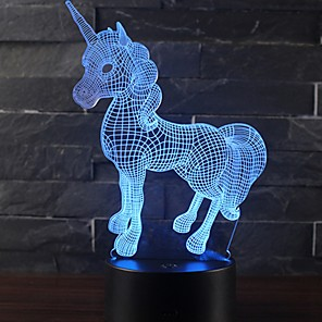 cheap 3D Duvet Covers-Beautiful Unicorn Romantic Gift 3D LED Table Lamp 7 Color Change Night Light Room Decor Lustre Holiday Girlfriend Kids Toys