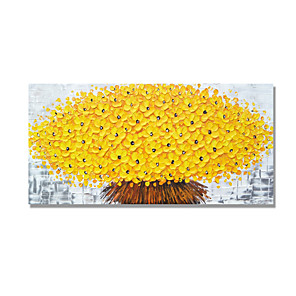 cheap Floral/Botanical Paintings-Oil Painting Hand Painted - Abstract Floral / Botanical Comtemporary Modern Stretched Canvas