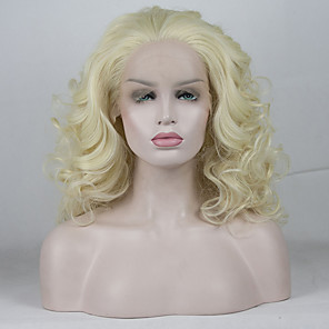 cheap Human Hair Capless Wigs-Synthetic Lace Front Wig Curly Free Part Lace Front Wig Blonde Short Light golden Synthetic Hair 12-16 inch Women's Adjustable Lace Heat Resistant Blonde