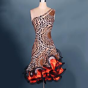 cheap Latin Dancewear-Latin Dance Dresses Women's Performance Spandex / Chiffon Satin Ruffles Sleeveless High Dress