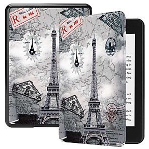 cheap Sleeves,Cases & Covers-Case For Amazon Kindle PaperWhite 4 Shockproof / with Stand / Pattern Full Body Cases Butterfly / Scenery / Eiffel Tower Hard PU Leather