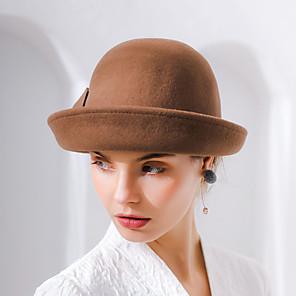 cheap Historical & Vintage Costumes-Audrey Hepburn Women's Adults' Ladies Retro Vintage Felt Hats Hat Black Brown Red Vintage Flower Wool Headwear Lolita Accessories