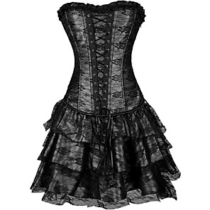 cheap Lolita Dresses-Cosplay Steampunk Retro Victorian 18th Century Dress Overbust Corset Women's Lace Costume Black / Purple / Green Vintage Cosplay Sleeveless Short Length