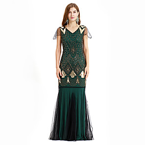 cheap Historical & Vintage Costumes-The Great Gatsby Charleston Vintage 1920s Flapper Dress Dress Women's Sequin Costume Golden+Black / Green / Red Vintage Cosplay Party Homecoming Prom Sleeveless Maxi