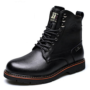 cheap Men's Boots-Men's Combat Boots Leather Winter Boots Booties / Ankle Boots Black / Brown / Martin Boots
