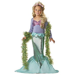 cheap Movie & TV Theme Costumes-The Little Mermaid Cosplay Costume Halloween Props Flower Girl Dress Kids Elementary Girls' A-Line Slip Princess Lolita Halloween Halloween Festival / Holiday Polyster Green Carnival Costumes / Bra
