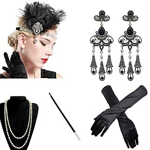 cheap Historical & Vintage Costumes-The Great Gatsby Charleston 1920s The Great Gatsby Roaring 20s Costume Accessory Sets Gloves Flapper Headband Women's Tassel Costume Head Jewelry Earrings Pearl Necklace Black / Golden / White Vintage
