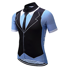 cheap Cycling Jerseys-Men's Short Sleeve Cycling Jersey Coolmax® Black / Blue Stripes Bike Jersey Top Mountain Bike MTB Road Bike Cycling Quick Dry Moisture Wicking Sports Clothing Apparel / Stretchy / SBS Zipper