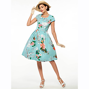 cheap Historical & Vintage Costumes-Audrey Hepburn Retro Vintage 1950s 1960s Wasp-Waisted Dress Women's Costume Green / LightBlue Vintage Cosplay Short Sleeve Knee Length
