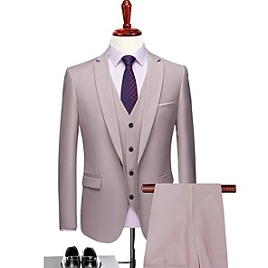 cheap Latin Dancewear-Milky White Solid Colored Tailored Fit Polyester Suit - Notch Single Breasted One-button / Suits