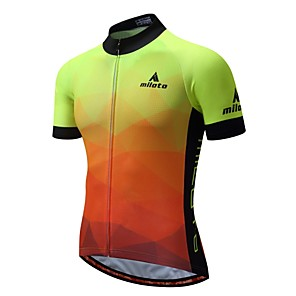cheap Cycling Jerseys-Miloto Men's Short Sleeve Cycling Jersey Luminous Bike Jersey Top Mountain Bike MTB Moisture Wicking Back Pocket Sports 100% Polyester Clothing Apparel / Stretchy