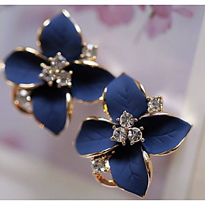 cheap Earrings-Women's Clear Cubic Zirconia Stud Earrings Vintage Style Flower Stylish Elegant Imitation Diamond Earrings Jewelry White / Black / Purple For Going out Festival 1 Pair