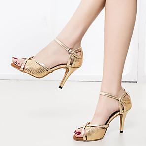 cheap Latin Shoes-Women's Dance Shoes Latin Shoes Sandal Sneaker Splicing Slim High Heel Customizable Gold / Performance / Leather