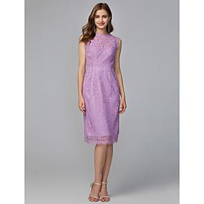 cheap Wedding Decorations-Sheath / Column Jewel Neck Midi / Knee Length Lace Bridesmaid Dress with Lace