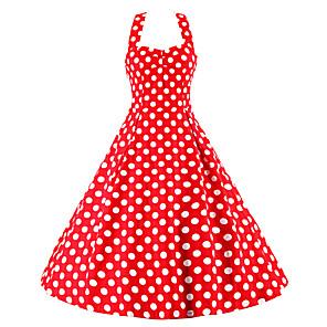 cheap Historical & Vintage Costumes-Audrey Hepburn Polka Dots Retro Vintage 1950s Dress Women's Costume Black / Red / Blue Vintage Cosplay Sleeveless Knee Length