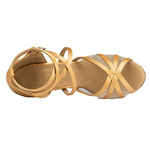 cheap Latin Shoes-Women's Dance Shoes Latin Shoes Heel Flared Heel Customizable Gold / Beige / Satin / EU40