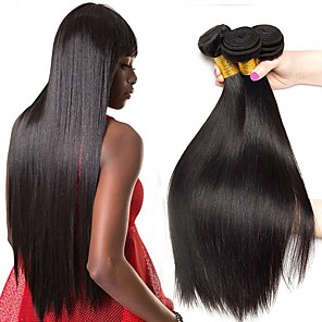 cheap Tools & Accessories-4 Bundles Hair Weaves Brazilian Hair Straight Human Hair Extensions Remy Human Hair 100% Remy Hair Weave Bundles 400 g Natural Color Hair Weaves / Hair Bulk Human Hair Extensions 8-28 inch Natural