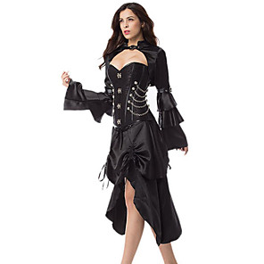 cheap Historical & Vintage Costumes-Hippie Disco Retro Vintage Gothic Victorian 1970s 18th Century Dress Masquerade Women's Cotton Costume Black Vintage Cosplay Asymmetrical / Pants / Skirts / Skirts / Pants