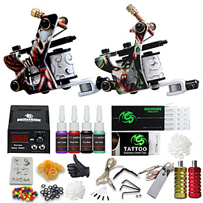 cheap Professional Tattoo Kits-DRAGONHAWK Tattoo Machine Starter Kit - 2 pcs Tattoo Machines with 4 x 5 ml tattoo inks, All in One, Safety, Easy to Install Alloy LCD power supply Case Not Included 2 alloy machine liner & shader