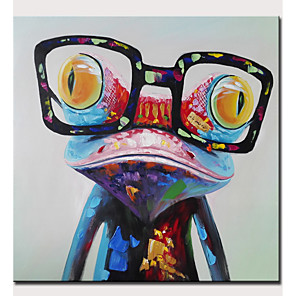 abordables Cuadros de Animales-Pintura al óleo pintada a colgar Pintada a mano - Abstracto Pop Art Modern Sin marco interior / Lienzo enrollado