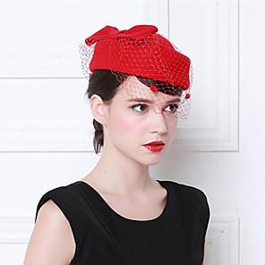 cheap Historical & Vintage Costumes-Elizabeth Audrey Hepburn Women's Adults' Ladies Retro Vintage Veil Felt Hats Fascinator Hat Hat Black Burgundy Red Bowknot Wool Tulle Headwear Lolita Accessories