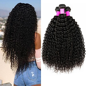 cheap iPhone Cases-4 Bundles Brazilian Hair Curly Kinky Curly Virgin Human Hair 400 g Headpiece Natural Color Hair Weaves / Hair Bulk Bundle Hair 8-28 inch Natural Color Human Hair Weaves Valentine Silky Best Quality