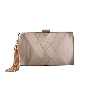 cheap Clutches & Evening Bags-Women's Tassel Silk / Satin Evening Bag Solid Color Black / Almond / Silver / Fall & Winter