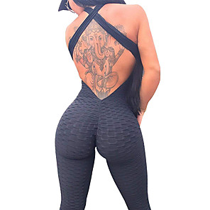 cheap Exercise, Fitness & Yoga Clothing-Women's Workout Jumpsuit Ruched Butt Lifting White Black Purple Spandex Yoga Gym Workout Fitness High Waist Leggings Bodysuit Romper Sport Activewear Tummy Control 4 Way Stretch Breathable Quick Dry
