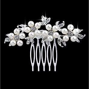 cheap Hair Jewelry-Women's Hair Combs For Wedding Party Daily Leaf Floral Imitation Pearl Rhinestone Alloy Silver