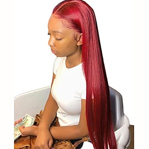 cheap Synthetic Lace Wigs-Synthetic Wig Synthetic Lace Front Wig Straight Silky Straight Middle Part with Baby Hair Lace Front Wig Long Red Synthetic Hair 26 inch Women's Soft Adjustable Heat Resistant Red Modernfairy Hair
