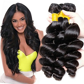 cheap Colored Hair Weaves-3 Bundles Hair Weaves Peruvian Hair Loose Wave Human Hair Extensions Remy Human Hair 100% Remy Hair Weave Bundles 300 g Natural Color Hair Weaves / Hair Bulk Human Hair Extensions 8-28 inch Natural