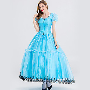 cheap Movie & TV Theme Costumes-Alice in Wonderland Cosplay Costume Adults' Women's Dresses Christmas Halloween Carnival Festival / Holiday Velour Cotton Blue Carnival Costumes Princess