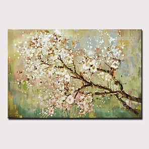 cheap Floral/Botanical Paintings-Oil Painting Hand Painted - Landscape / Floral / Botanical Modern Rolled Canvas