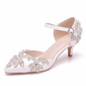 cheap Wedding Shoes-Women's PU(Polyurethane) Spring & Summer Minimalism Wedding Shoes Low Heel Pointed Toe Rhinestone / Buckle White / EU41