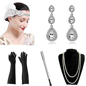cheap Historical & Vintage Costumes-The Great Gatsby Charleston Vintage 1920s The Great Gatsby Roaring 20s Gloves Headpiece Flapper Headband Women's Tassel Costume Head Jewelry Necklace Earrings Peacock Blue / Golden / White Vintage