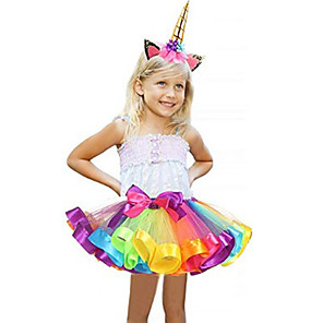 cheap Movie & TV Theme Costumes-Carnival Unicorn Costume Flower Girl Dress Kid's Girls' A-Line Slip Halloween Halloween Carnival Masquerade Festival / Holiday Tulle Polyster Purple / Blue / Purple / Red Female Carnival Costumes
