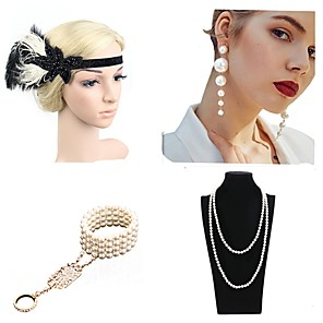 cheap Costumes Jewelry-The Great Gatsby Charleston 1920s The Great Gatsby Costume Accessory Sets Flapper Headband Women's Tassel Costume Head Jewelry Pearl Necklace Black / Red / black / Green and Black Vintage Cosplay Mini